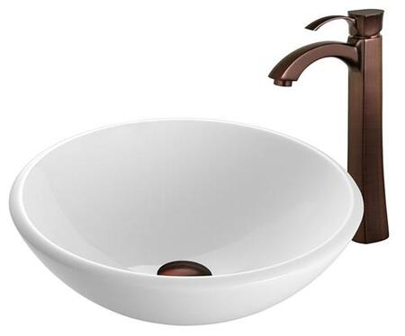VGT200 White Phoenix Stone Glass Vessel Sink with Oil Rubbed Bronze