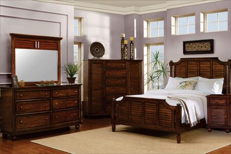Bahama Shutter Wood Collection CF-1105-0158-Q-5PC 5-Piece Queen Bedroom Set with Panel Bed  Dresser  Mirror  Nightstand and Chest in Tropical