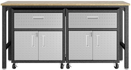 Fortress 17GMC 3-Piece Garage Cabinet and Worktable with 4 Shelves  2 Drawers and 4 Doors in