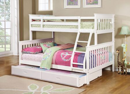 Chapman Collection 460260+400323 Twin over Full Size Bunk Bed with Trundle  Separable Beds  Clean Line Design  Slatted Headboards and Footboards  Built-In
