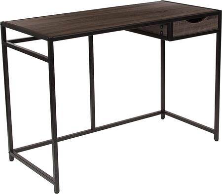 Homewood Collection NAN-JN-21706T-GG 42 inch  Desk with 1 Drawer  Metal Frame Border  Cutout Drawer Pull  Black Powder Coated Frame and Wood Grain Laminate