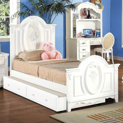 Flora Collection 01677FBTDC 4 PC Bedroom Set with Full Size Panel Bed + Desk + Hutch + Student Chair in White