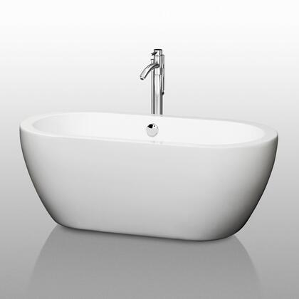 WCOBT100260 60 in. Center Drain Soaking Tub in White with Chrome