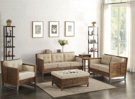Andria Collection 5 PC Living Room Set with Sofa + Loveseat + Chair + End Table + Ottoman in Reclaimed Oak