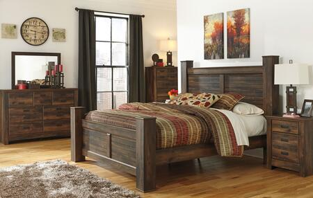 Quinden King Bedroom Set With Poster Bed  Dresser  Mirror  Nightstand And Chest In Dark