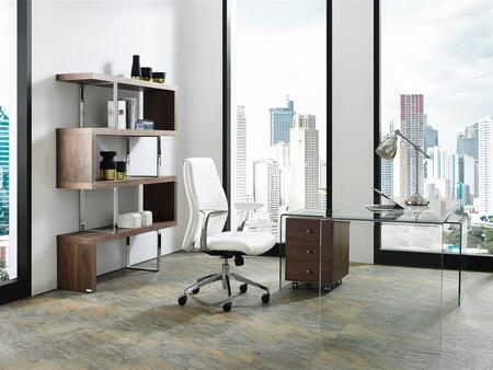 Rio Collection CB1109WALDESK3SET 3 PC Office Furniture with Walnut Veneer Office Desk  Walnut Veneer Bookcase and White Eco-Leather Upholstered Office