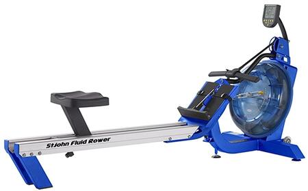 Azul Series STJOHN St. John Indoor Fluid Rower with 16 Levels of Variable Fluid Resistance  Patented Twin Tank Design  Interactive Performance Monitor and
