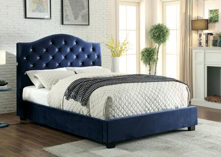 Betelgeuse Collection CM7421NV-EK-BED Eastern King Size Platform Bed with LED Lights  Button Tufted Headboard  Camelback Design  Solid Wood Construction and