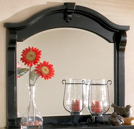 2900-040 Heirloom Black Landscape Mirror in Black With Rub Through Highlights  Rasping and Worm Hole