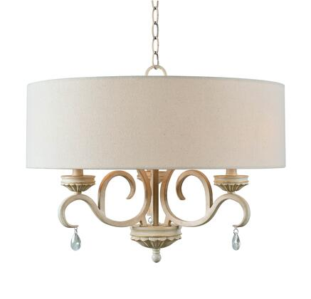 Marcella 93907WH 3-Light Drum Chandelier with 3- Candelabra Base Sockets  60 Watt Maximum Each  22