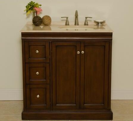 Beth A0701SLB 36 inch  Single Vanity With Transitional Cabinet  Two Doors with One Shelf Inside and Three Felt-Lined Drawers in