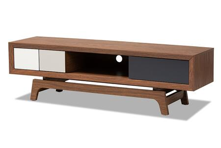 WI1701-Walnut/White/Grey-TV Baxton Studio Svante Mid-Century Modern Multicolor Finished Wood 3-Drawer TV