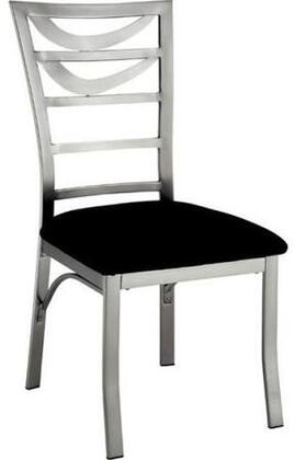 Roxo Collection CM3729SC-2PK Set of 2 Contemporary Style Side Chair with Ladder Back  Padded Microfiber Seat and  Metal Frames with Satin Plated Powder Coating