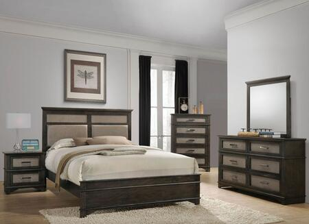 Anatole Collection 26280QSET 5 PC Bedroom Set with Queen Size Bed + Dresser + Mirror + Chest + Nightstand in Dark Walnut