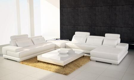 VGEV5005-HL-WHT Divani Casa Phantom Modern White Half Leather Sectional Sofa w/ Ottoman and Glass End