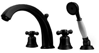 514463TFORB Blairhaus McKinley deck mount tub filler set with smooth lined arcing spout  bell-shaped cross handles  beveled escutcheons  hand held shower with