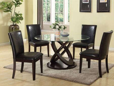 Gable Collection 71985SET 5 PC Dining Room Set with Round Shaped Glass Top Dining Table and 4 Espresso PU Leather Upholstered Side Chairs in Espresso