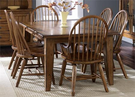 Treasures Collection 17-DR-7PCS 7-Piece Dining Room Set with Rectangular Dining Table  4 Oak Side Chairs and 2 Oak Arm Chairs in Rustic Oak