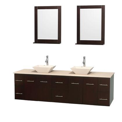 Wcvw00980desivd2bm24 80 In. Double Bathroom Vanity In Espresso  Ivory Marble Countertop  Pyra Bone Porcelain Sinks  And 24 In.