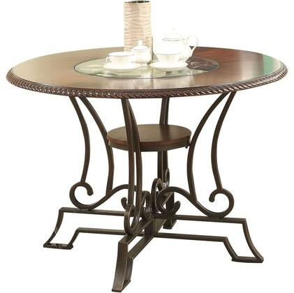 Jaimey Collection 71410 44 inch  Dining Table with Clear Glass Intert  Round Shape  Scrollwork and Metal Construction in Oak and Antique Black