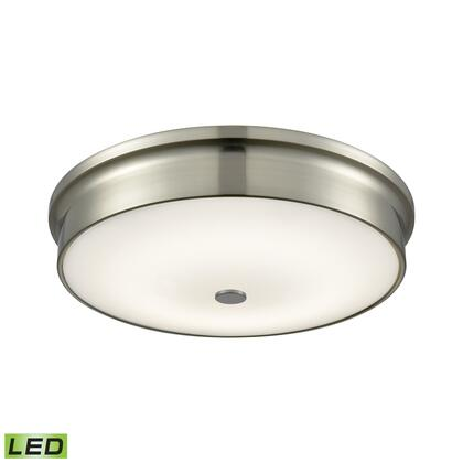 FML4250-10-16M Towne Round LED Flushmount In Satin Nickel And Opal Glass -