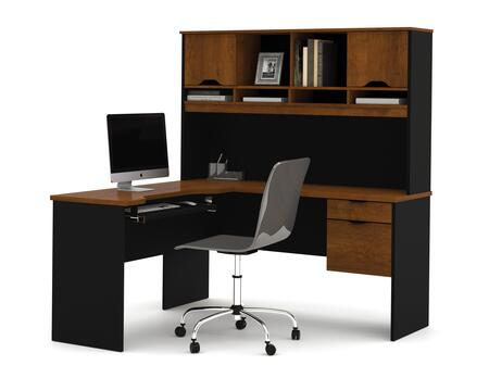 92420-63 Innova L-Shaped Desk in with Accessories and Scratches  Stains and Wear Resistant Surface Tuscany Brown and