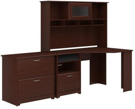 Cabot WC31415-03-31-80 2-Piece Desk and Hutch Set with Lateral File Cabinet in Harvest