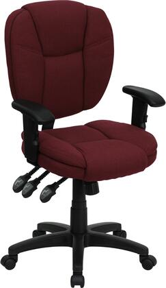 GO-930F-BY-ARMS-GG Mid-Back Burgundy Fabric Multi-Functional Ergonomic Task Chair with