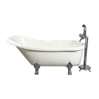 BT686 67 inch  Acrylic Slipper Claw Foot Tub in White with Faucet  Adjustable Feet for