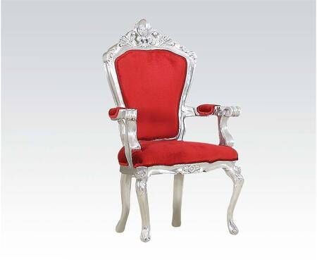 59113 Salim Accent Chair  Silver Frame & Red