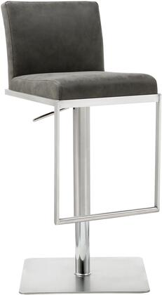 Clay Collection BS1622P-GRY Bar Stool with Adjustable Height  Low Back  Square Stainless Steel Base  Footrest Support and Faux Leather Upholstery in Grey