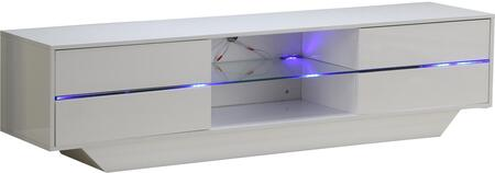 LS-602-W 70 inch  TV Stand with 4 Drawers  Tempered Glass Shelf and LED Lighting System in Glossy Lacquer Finish