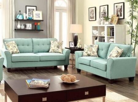 Claire Collection CM6266BL-SL 2-Piece Living Room Set with Stationary Sofa and Loveseat in