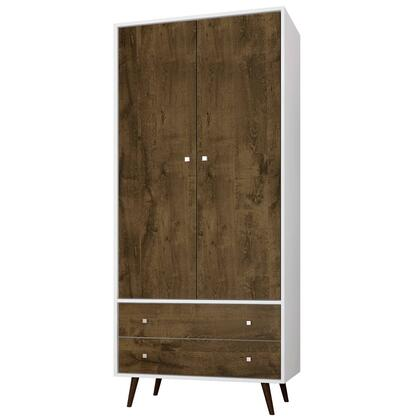 "Liberty Collection 207BMC69 32"" Armoire with 2 Drawers  1 Shelf and Hanging Rod in White and Rustic"