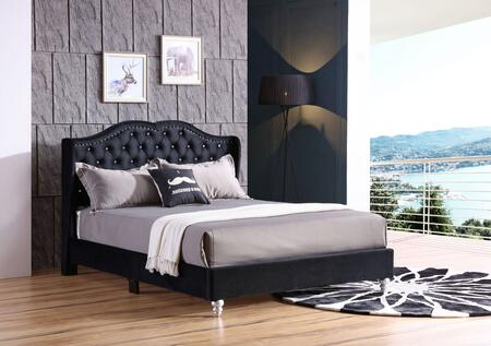 G1934-FB-UP Joy Collection Full Size Upholstered Bed with Button Tufting Details  Velvet Fabric  Turned Legs  and Nail Head Accents  in