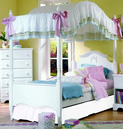 Carolina Cottage Collection 417140-3-419400-964000 Full Size Canopy Bed with Princess Headboard & Footboard  Wood Rails with Slats and Metal Canopy Frame in