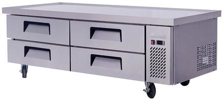 CCB72-76 76 inch  Competitor Series Refrigerated Chef Base with 4 Drawers  Stainless Steel Constructions  and Casters  in Stainless