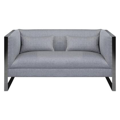 Royce Collection LCRC2GR Contemporary Loveseat with Polished Stainless Steel and Grey