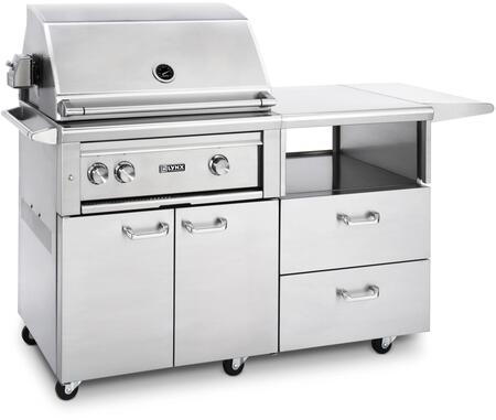 """L30ASR-MNG Professional Series 30"""""""" Grill on Mobile Kitchen Cart with 2 ProSear2 Burners and Rotisserie  Blue LED Knob Light and Halogen Surface Light  in"""" 685045"""