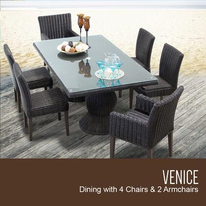 Venice-rectangle-kit-4adc2dc Venice Rectangular Outdoor Patio Dining Table With With 4 Armless Chairs And 2 Chairs W/