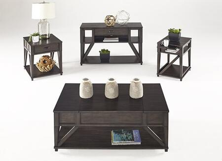 Consort T425-04-05-14-29 4-Piece Set with End Table  Sofa Table  Coffee / Cocktail Table and Accent Table in Midnight