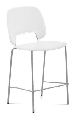 TRAFF.R.A0F.SA.PBI Traffic Stacking Chair with Sand Lacquered Steel Frame  Polished Metal Legs  White Polypropylene Seat and