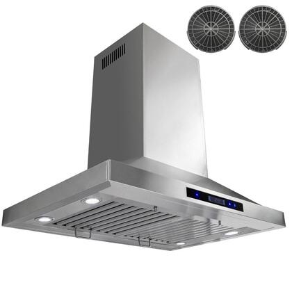 GIR0230 30 inch  Island Mount Range Hood with 870 CFM  65 dB  Innovative Touch  LED Lighting  3 Fan Speed  Stainless Steel Baffle Filter and Ductless: Stainless
