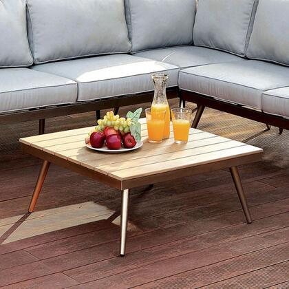 Evita CM-OS2582-T Table with Contemporary Style  Modular Design  Plank Style Design  Oak Faux Wood Top in