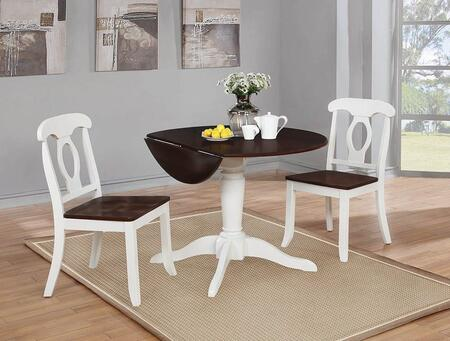 Bremerton Collection 122331-S3 3-Piece Dining Room Set with Round Dining Table and 2 Side Chairs in Rich Brown and