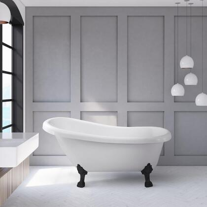 N480BL 61 inch  Soaking Clawfoot Tub with Internal Drain  Chrome Color Drain Assembly  131 Gallons Water Capacity  and Acrylic/Fiberglass Construction  in Glossy