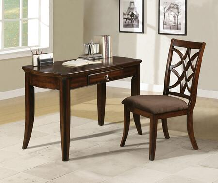 92082 Keenan 2-Piece Set with Desk and Chair in Walnut with Cappuccino Fabric