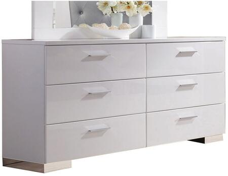 Lorimar Collection 22635 63 inch  Dresser with 6 Drawers  Aluminum Hardware  Side Metal Glide Drawer and High Gloss Finish in White