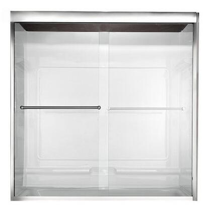 AM00.150400.006 Clear Frameless By-Pass Bath Doors  for Showers 56 to 60 Inches Wide: Brushed