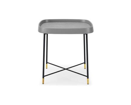 ST1436GRY Lucia Side Table  Gray Oak Veneer  Black Metal Frame And Brass Color